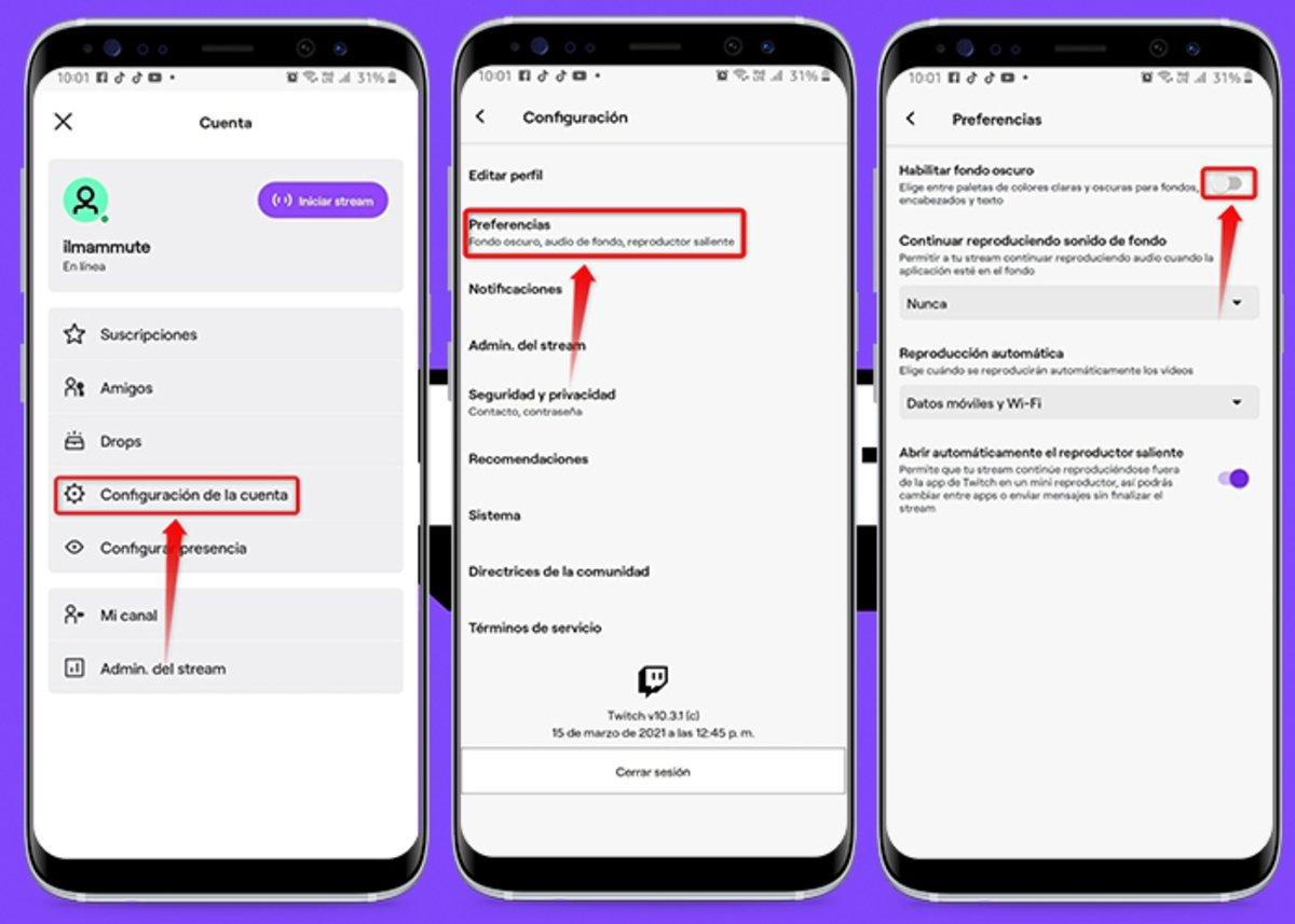 Android सुरक्षित के लिए Twitch पर डार्क मोड कैसे सक्रिय करें