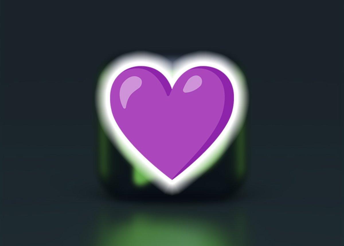 बैंगनी दिल इमोजी heart
